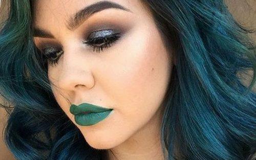 machiaj-clasic lipstick verde