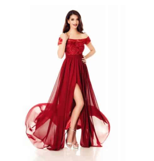 Rochie lunga rosie Domnisoara de Onoare - Miss Grey