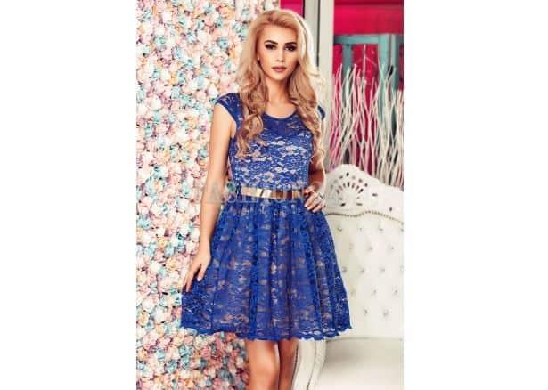 Rochie nunta din dantela albastra - Fashion 24