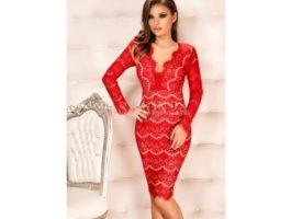 Rochie nunta din dantela rosie - Fashion 24