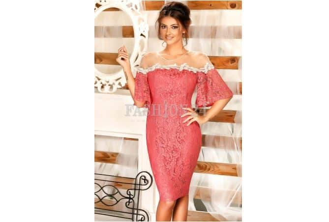Rochie nunta din dantela roz - Fashion 24