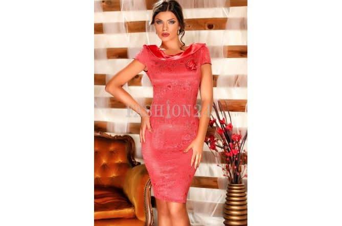 Rochie nunta din dantela roz - Fashion24