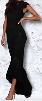 Rochie neagră dantelată de zi pentru nașă tânără